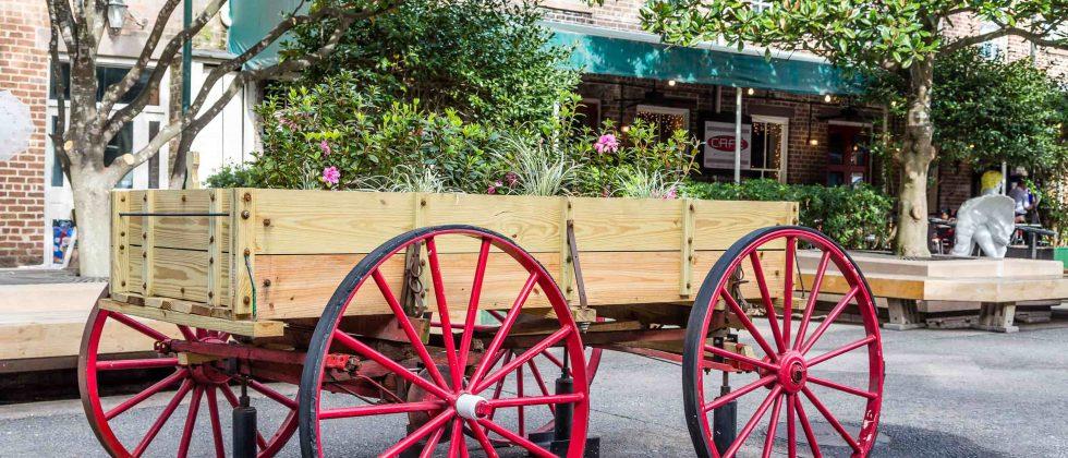 A wagon with produce on a street in Savannah