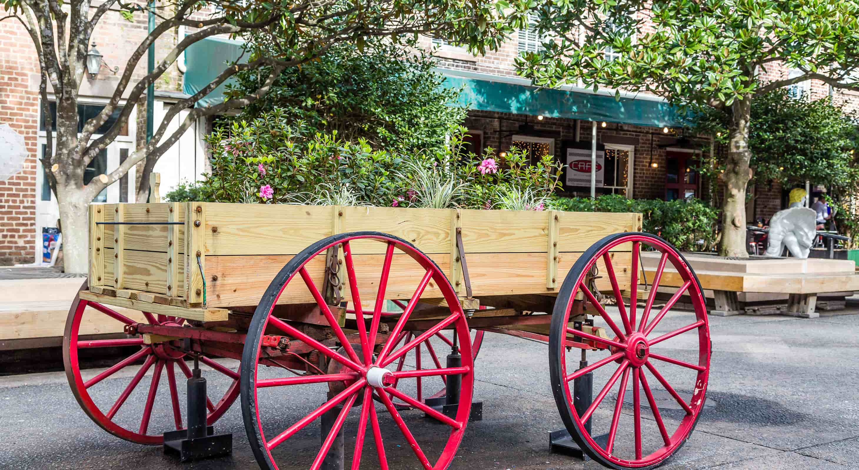 A wagon with produce on a street in Savannah