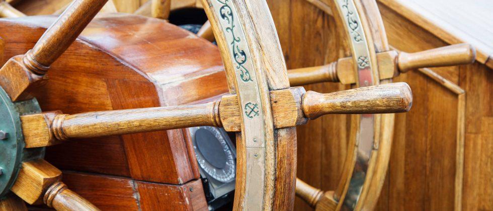 wooden boat wheel