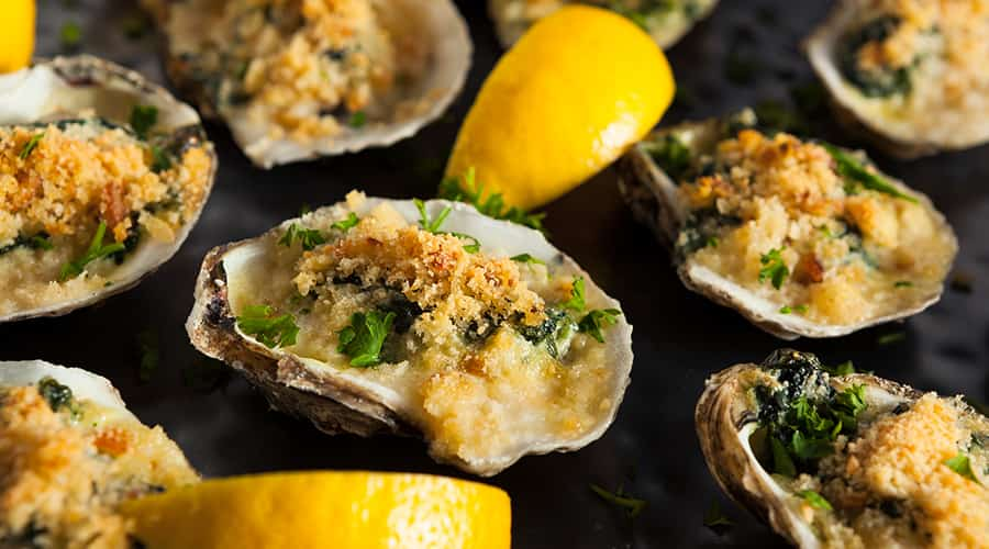 Oysters Rockefeller with lemon