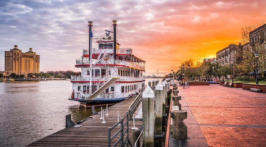 paddlewheel boat docked on River Street in Savannah