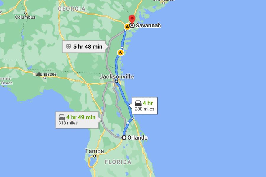 map from Orlando, Florida to Savannah, Georgia