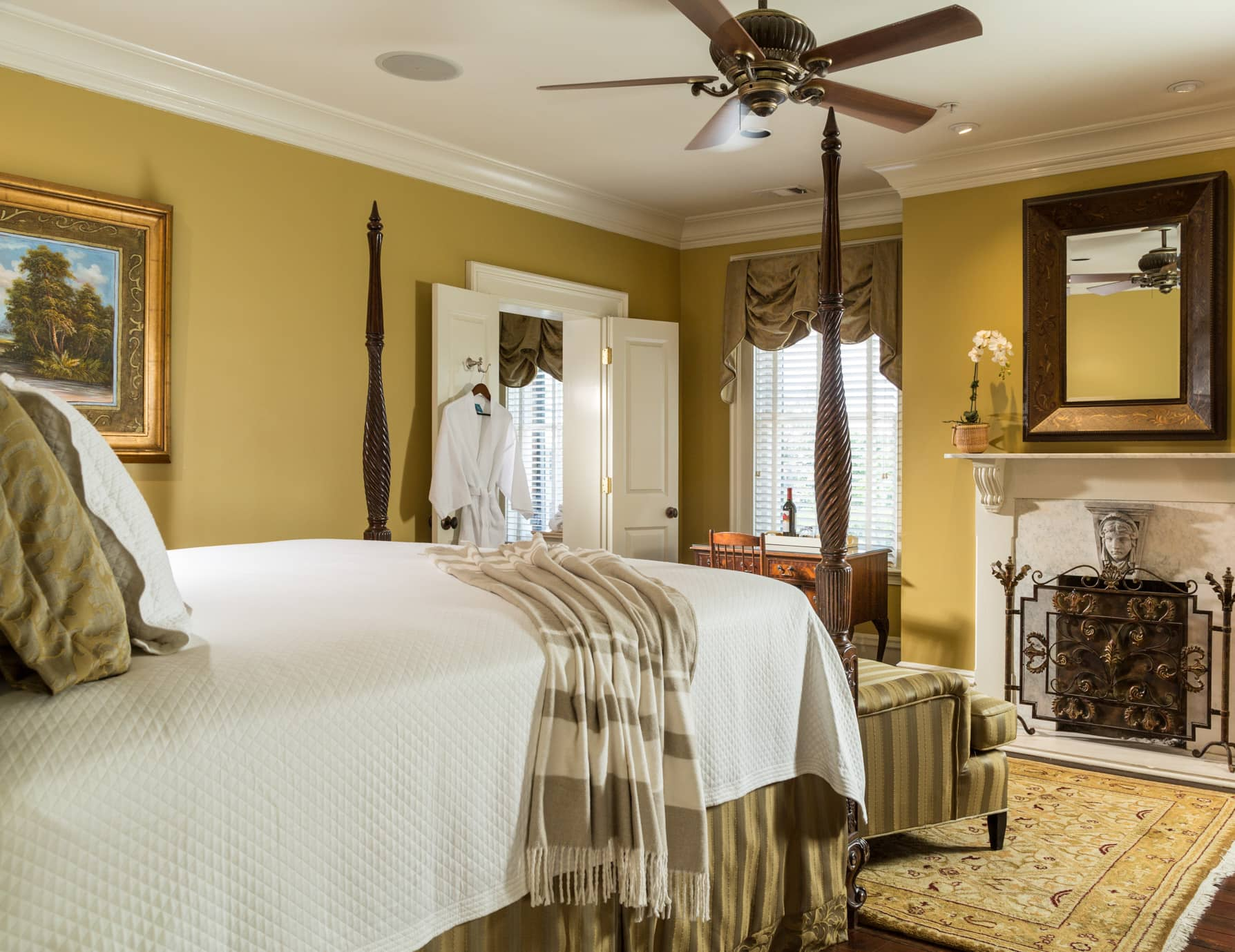 Spacious room with a king bed and fireplace