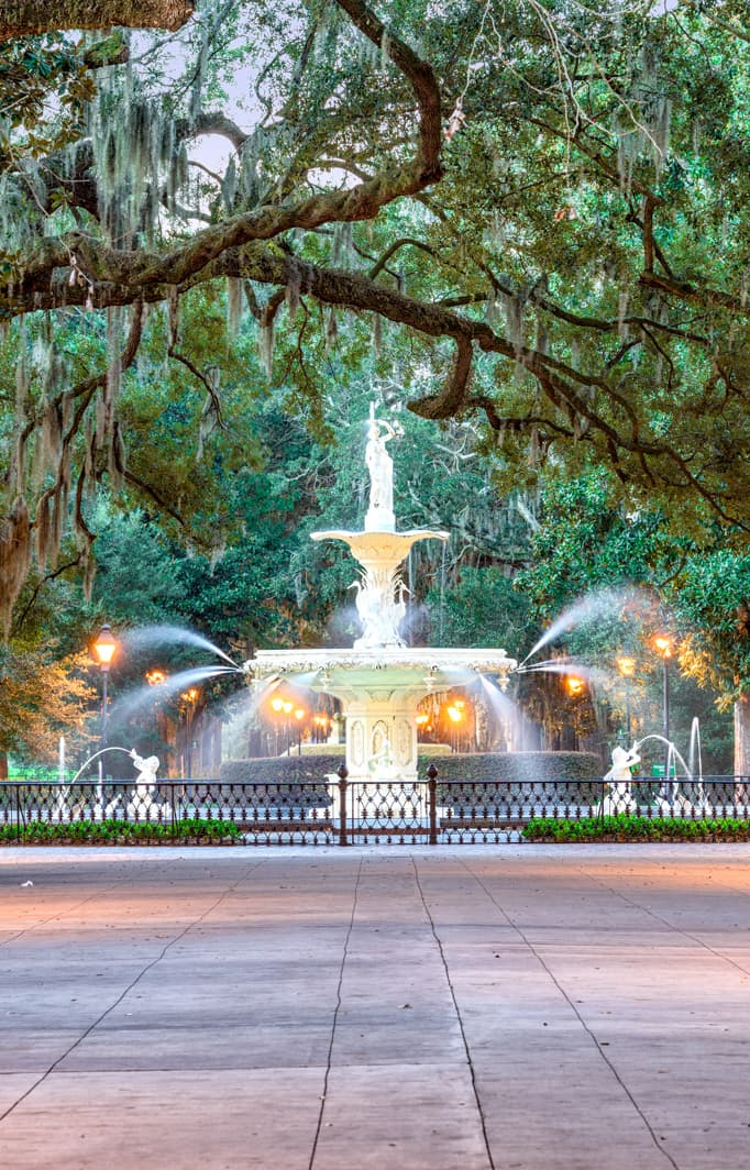 A fountain in Savannah Georgia