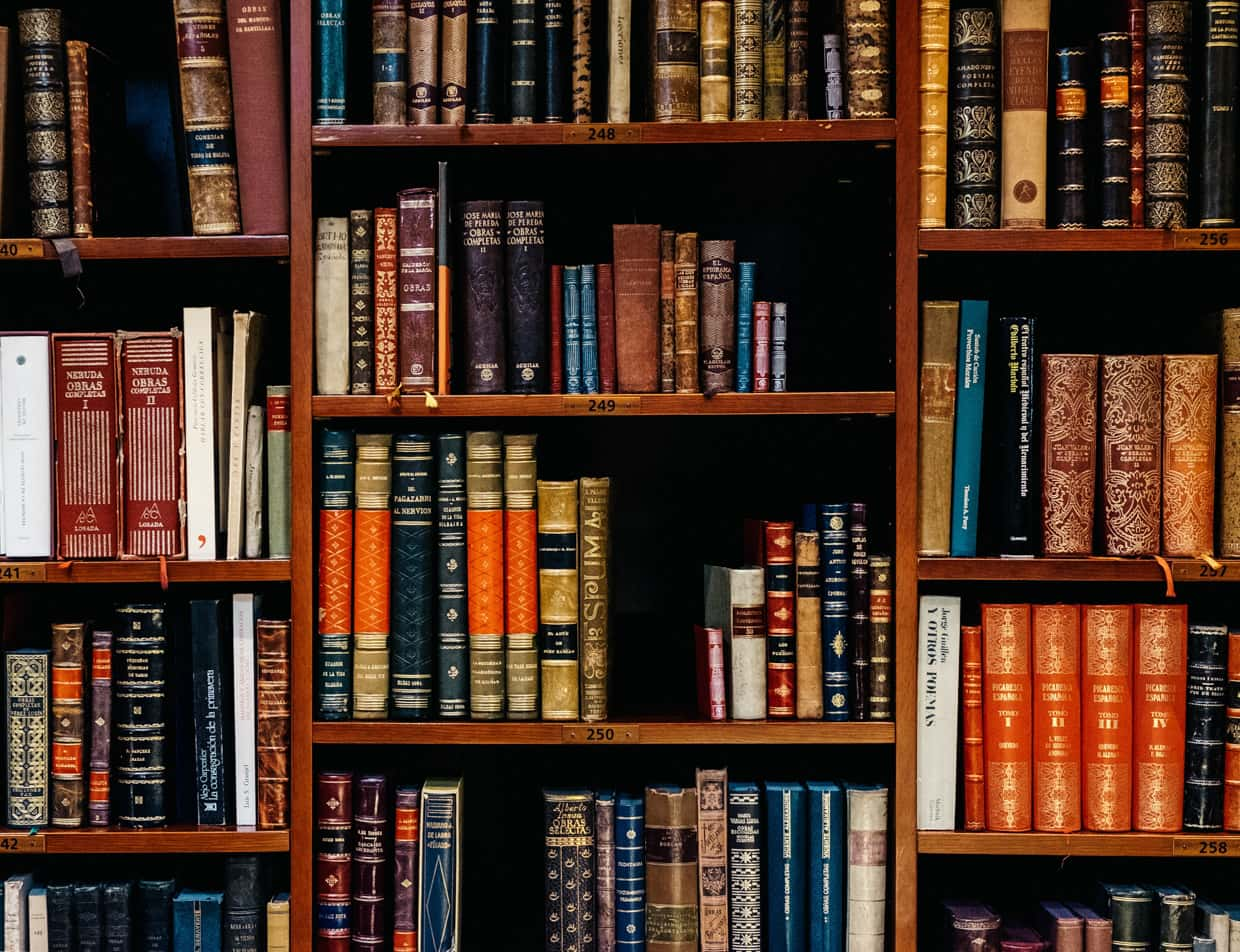 A collection of books on a bookshelf