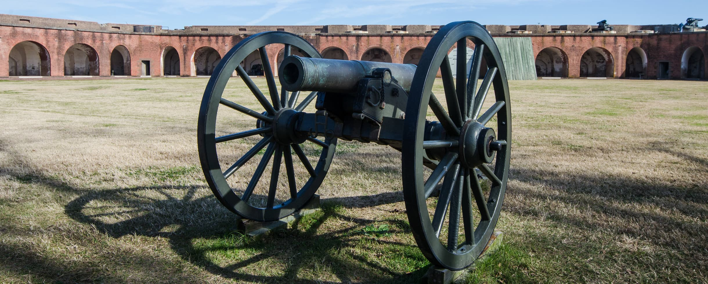Canon on the grass at Fort Pulaski