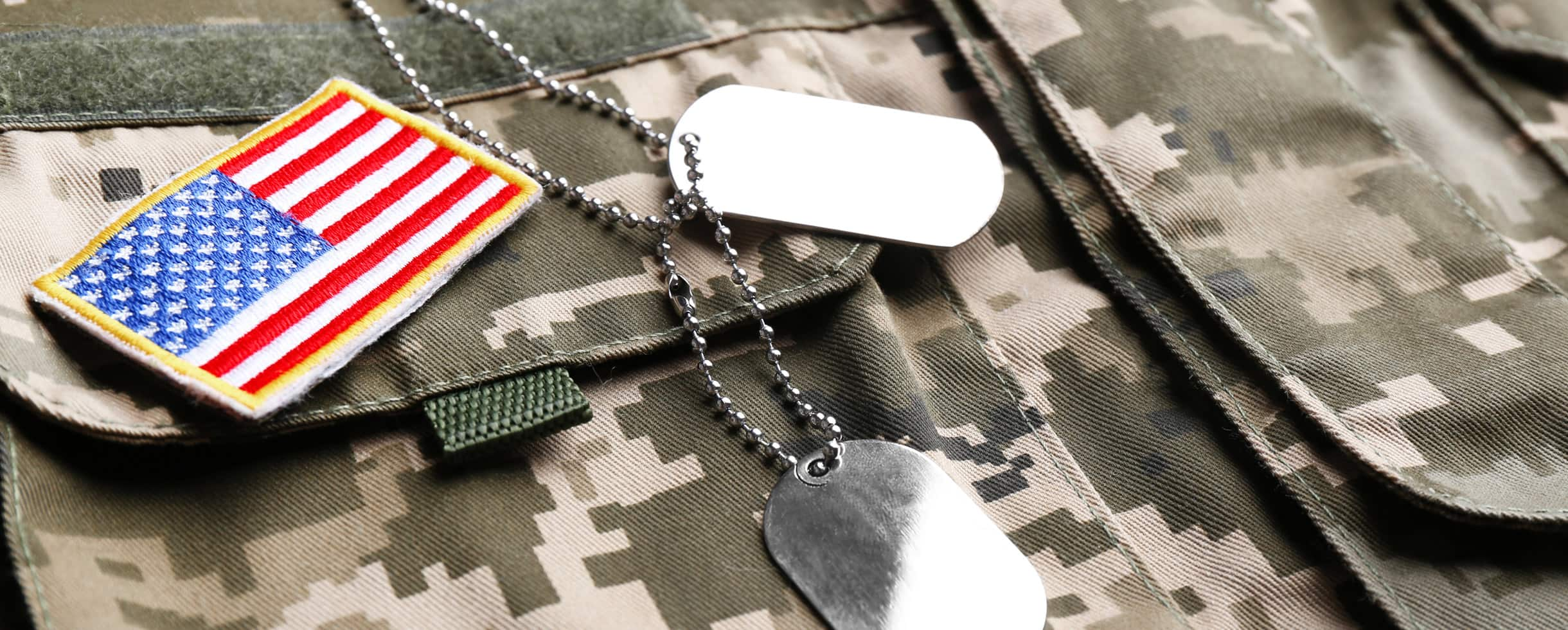 Military Tags and Flag on Jacket