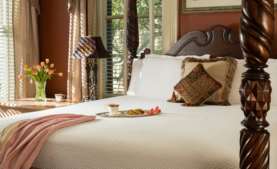 Elegant Savannah guest room with tray of treats