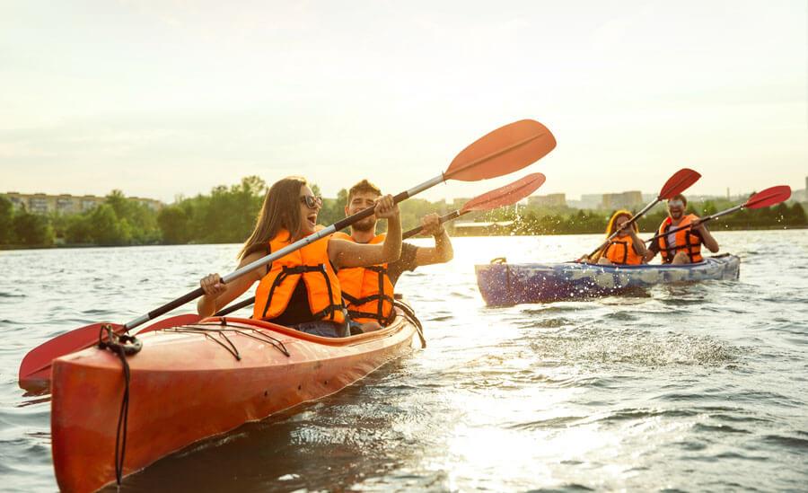 Group kayaking in Savannah