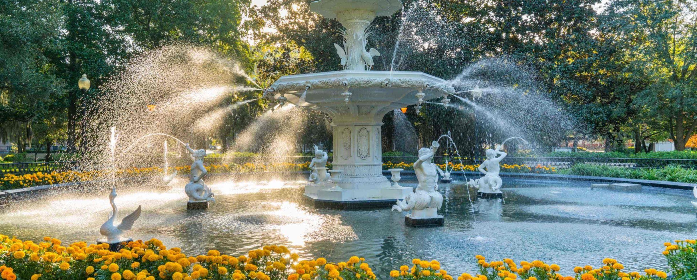 Fountain near our B&B in Savannah, GA