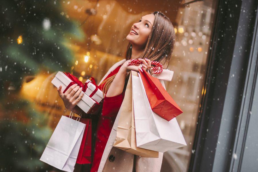 a woman Christmas shopping