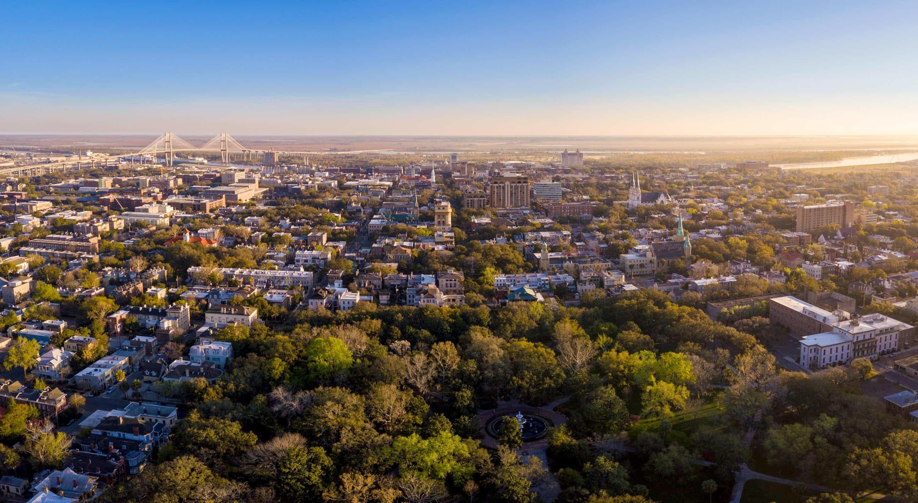 Aerial View of Savannah on Getaway from Atlanta, Georgia