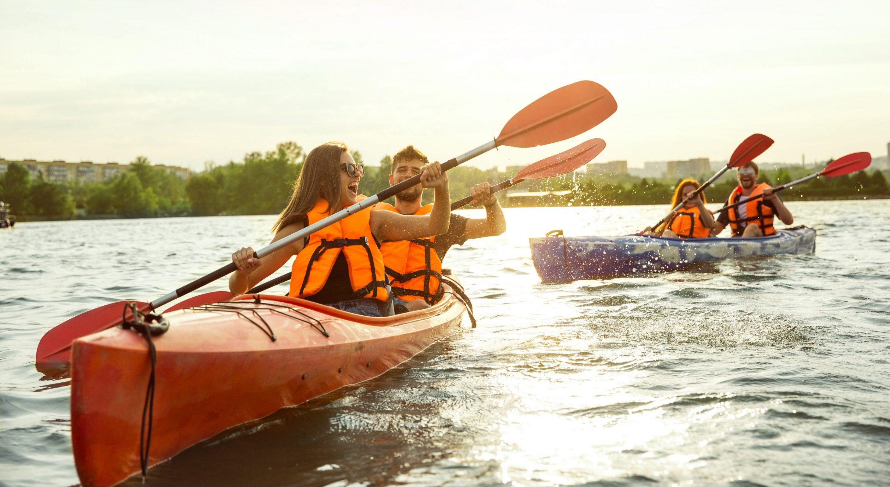 Two Couples Enjoying Kayaking in Savannah