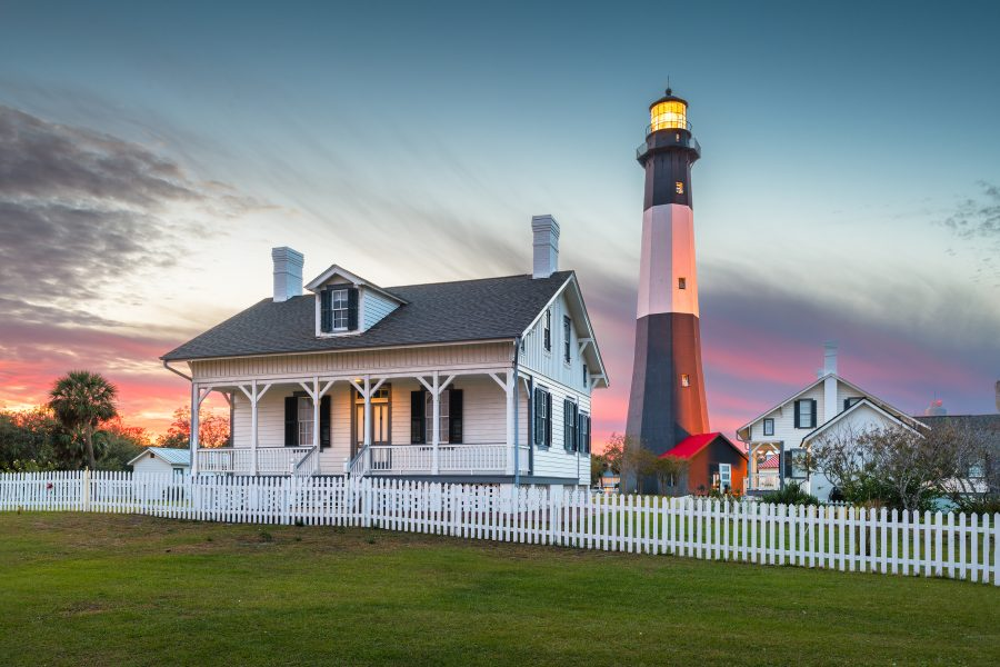 tybee island lighthouse in the evening