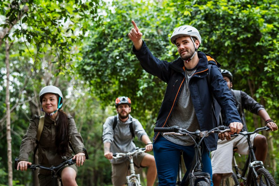 a group of people on a bike tour